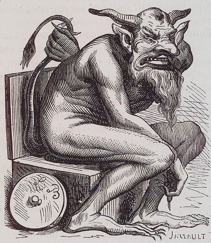 "Known as the demon of discoveries and of ingenious inventions, Belphegor is said to appear as a young girl and to give wealth. He was worshipped by the Moabites as Baalphegor on Mount Phegor. Some rabbis claim that he must be worshipped on a toilet, with offerings being the residue of ones' digestion. This has led some to conclude that Belphegor is the god Pet (Fart) or ""Crepitus,"" while others believe that he is Praipus. Selden is cited by Bainier as reporting that human victims are to be offered to him, and that his priests partake of the flesh. Wierus wrote that he always has an open mouth, attributing it to the name Phegor, which according to Leloyer means ""crevice"" or ""split,"" and refers to when he was worshipped in caves and people threw him offerings through an air hole."